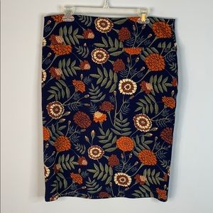 Lularoe autumn floral pencil skirt marigold 2xL